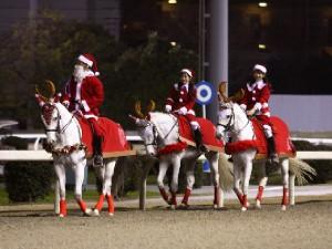川崎競馬の誘導馬 12月開催 xmas サンタ付き3頭立てVer 1